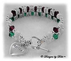 Designs by Debi Handmade Jewelry Personalized Keepsake Bracelet 2 strand Keepsake Bracelet in the Karen Style Stardust and Seamless Round bead combination with Siam (July) and Emerald (May) crystals, a heart toggle clasp and Sister heart charm. Sister's Bracelet