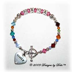 Designs by Debi Handmade Jewelry Personalized Generations Keepsake Bracelet in the Karen Style Twist bead combination with every family member's birthstone, a heart toggle clasp and Family heart charm. Grandmother's or Nana's Bracelet