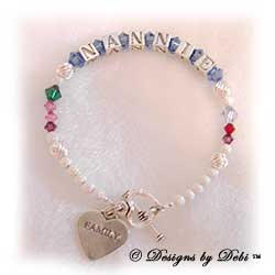 Designs by Debi Handmade Jewelry Personalized Generations Keepsake Bracelet in the Karen Style Twist and Stardust bead combination with every family member's birthstone, a heart toggle clasp and Family heart charm. Grandmother's or Nana's Bracelet