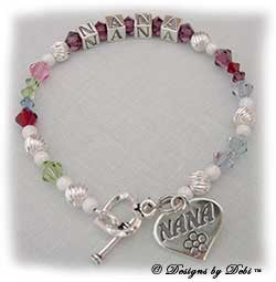 Designs by Debi Handmade Jewelry Personalized Generations Keepsake Bracelet in the Melania Style Twist and Stardust bead combination with every family member's birthstone, a heart toggle clasp and Nana heart charm. Grandmother's or Nana's Bracelet