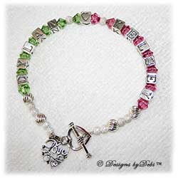 Designs by Debi Handmade Jewelry Couples Keepsake Bracelet in the Karen Style Twist and Stardust bead combination with a heart toggle clasp and Love Filigree Heart charm. Wife's Bracelet Girlfreind's Bracelet