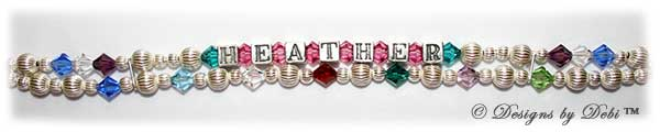 This bracelet has a second strand added that has all of Heather's grandchildren's birthstones in the same 6mm size as the crystals on the original strand.