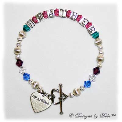Designs by Debi Handmade Jewelry Karen Style Family Keepsake Bracelet in the Corrugated bead combination with every family member's birthstone, a heart toggle clasp and Grandma heart charm.