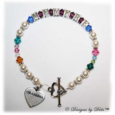 Designs by Debi Handmade Jewelry Ali Style Generations Keepsake Bracelet in the Pearls with Antiqued bead combination with every family member's birthstone, a heart toggle clasp and Grandma heart charm.