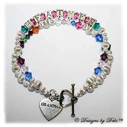 Designs by Debi Handmade Jewelry. This was a Family Keepsake Bracelet to which I added a second strand in the Generations Keepsake Bracelet design with the birthstones of Heather's children and their spouses in 6mm and her grandchildren's birthstones in 4mm placed in between their parents'. Grandmother's or Nana's Bracelet