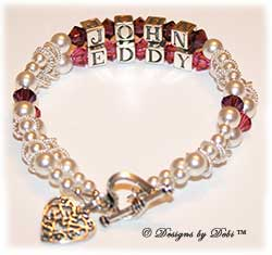 Designs by Debi Handmade Jewelry Memorial Keepsake Bracelet in the Isabella Style and Pearls bead combination with Amethyst (February) and Rose (October) crystals, a heart toggle and filigree hearts in heart charm.