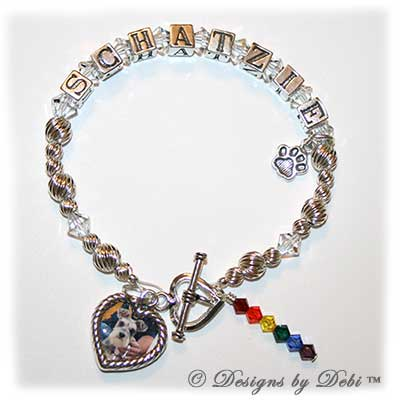 Designs by Debi Handmade Jewelry Rainbow Bridge Pet Memorial Bracelet™ Schatzie