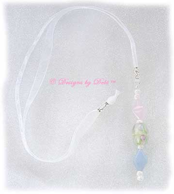 Designs by Debi Handmade Jewelry Pink and Blue Roses Ribbon Slide Bookmark