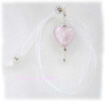 Designs by Debi Handmade Jewelry Light Pink Foil Heart Ribbon Slide Bookmark