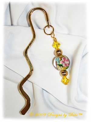 Designs by Debi Handmade Jewelry Yellow, Pink and Blue Floral Mini Gold Squiggle Shepherd's Hook Bookmark