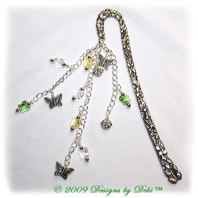 Designs by Debi Handmade Jewelry Yellow, Green and Crystal Butterflies Silver Shepherd's Hook Bookmark