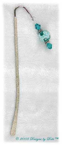 Designs by Debi Handmade Jewelry Aqua Aloha Floral Textured Silver Shepherd's Hook Bookmark