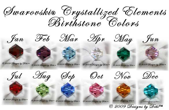 Swarovski crystal birthstone colors