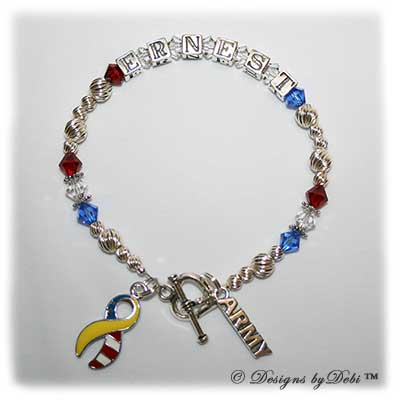 sample photo of the Support Your Soldier Bracelet style #2; with sterling silver letter blocks, Swarovski; crystals, army charm and yellow and flag ribbon charm