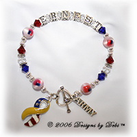 Designs by Debi handmade Support Your Soldier bracelet in sterling silver with the name Ernest in alphabet letter cubes, red, crystal and blue Swarovski crystals, flag beads, star spacers, a heart toggle, Army charm and yellow and flag ribbon charm. Also known as soldier bracelets, deployment bracelets, troop bracelets.