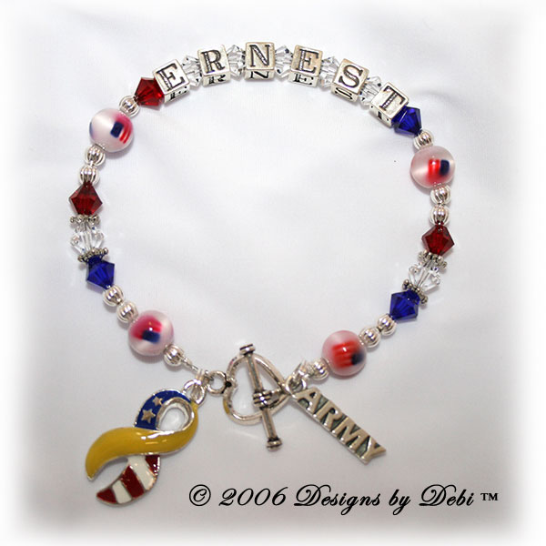 sample photo of the Support Your Soldier Bracelet style #1; with sterling silver letter blocks, Swarovski crystals, fiber-optic flag beads, army charm and yellow and flag ribbon charm
