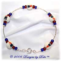 New England Patriots handmade beaded bangle bracelet in silver, red, white and blue.
