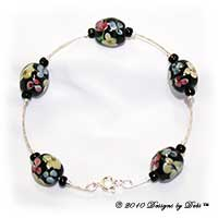 Handmade Jewelry Silver Bangle Bracelet with Black Multi Aloha Florals Beads and a Spring Ring Clasp
