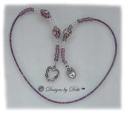 Designs by Debi Handmade Jewelry Amethyst and Pink Roses and Hearts Thong Bookmark