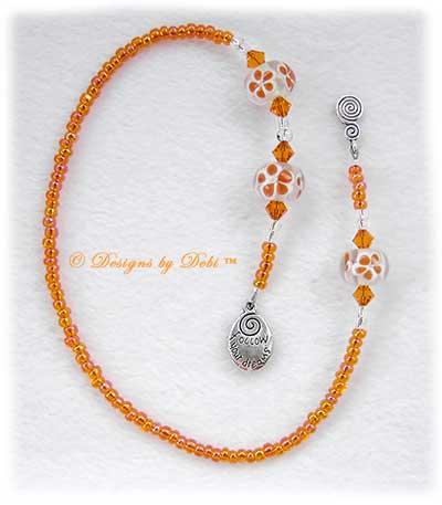 Desigs by Debi Handmade Jewelry Orange 'Follow Your Dreams' Flowers and Crystal Thong Bookmark
