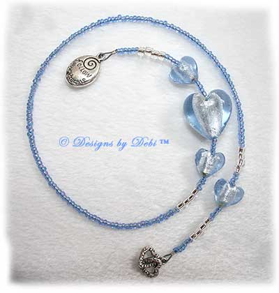 Designs by Debi Handmade Jewelry Light Blue 'Follow Your Dreams' and Double Hearts Thong Bookmark