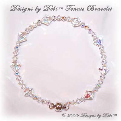 Handmade Jewelry Swarovski Crystal AB Bicones Bangle Style Tennis Bracelet with Silver Magnetic Clasp