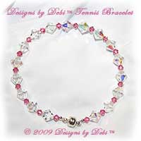 Designs by Debi Handmade Jewelry Swarovski Crystal AB and Rose Pink Bicones Bangle Style Tennis Bracelet with Silver Magnetic Clasp