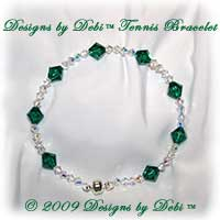 Designs by Debi Handmade Jewelry Swarovski Crystal AB and Emerald Bicones Bangle Style Tennis Bracelet with Silver Magnetic Clasp