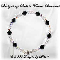 Designs by Debi Handmade Jewelry Swarovski Crystal AB Simplicity and Jet Black Bicones Bangle Style Tennis Bracelet with Silver Magnetic Clasp
