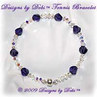 Designs by Debi Handmade Jewelry Swarovski Crystal AB Simplicity and Purple Velvet Helix Bangle Style Tennis Bracelet with Silver Magnetic Clasp