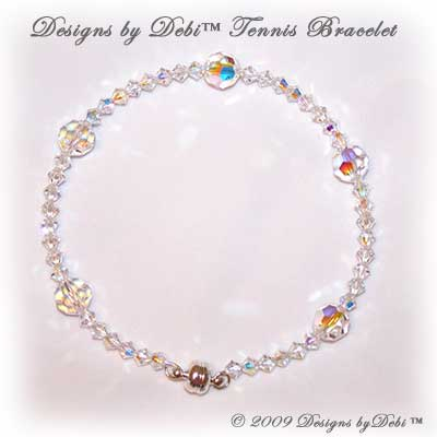 Designs by Debi Handmade Jewelry Swarovski Crystal AB Faceted Rounds and Bicones Bangle Style Tennis Bracelet with Silver Magnetic Clasp
