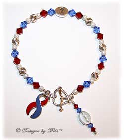Designs by Debi Handmade Jewelry In Memory Awareness Bracelet Style #1 in Red and Blue for Pulmonary Fibrisis