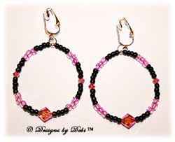 Designs by Debi Handmade Jewelry Rose AB and Jet Crystal and Seed bead Round Clip-on Earrings