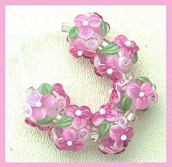 Pretty in Pink Wild Blosom Beads made by Heather Davisd of Blissful Garden Beads