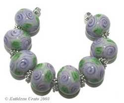 Violet Rose Chintz lampwork beads handmade by Kathie Urato of Designs by K Urato