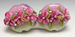 English Chintz Floral Lentil Beads made by Lynne Bauter of Brilynn Beads