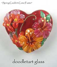Spring Couldn't Come Faster Lampwork Glass Focal Bead by Susan Elliot of Doodletart Glass