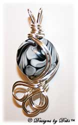 Black, Gray and White Lentil Wire-Wrapped Pendant in Silver