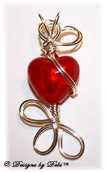 Red Silver-Lined Foil Heart Handmade Wire-Wrapped Pendant in Silver