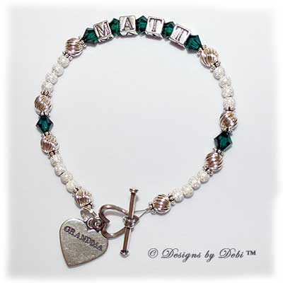 Designs by Debi Handmade Jewlry Zoe Style Bracelet in the Twist and Stardust with Antiqued bead combination, Emerald (May) crystals, a heart toggle clasp and Grandma heart charm