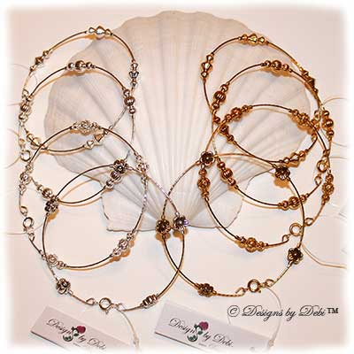 Designs by Debi Handmade Jewelry Beaded Bangle Bracelets in Silver and Gold